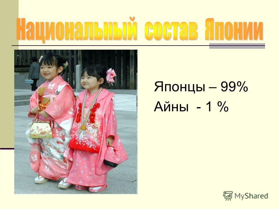 Японцы – 99% Айны - 1 %