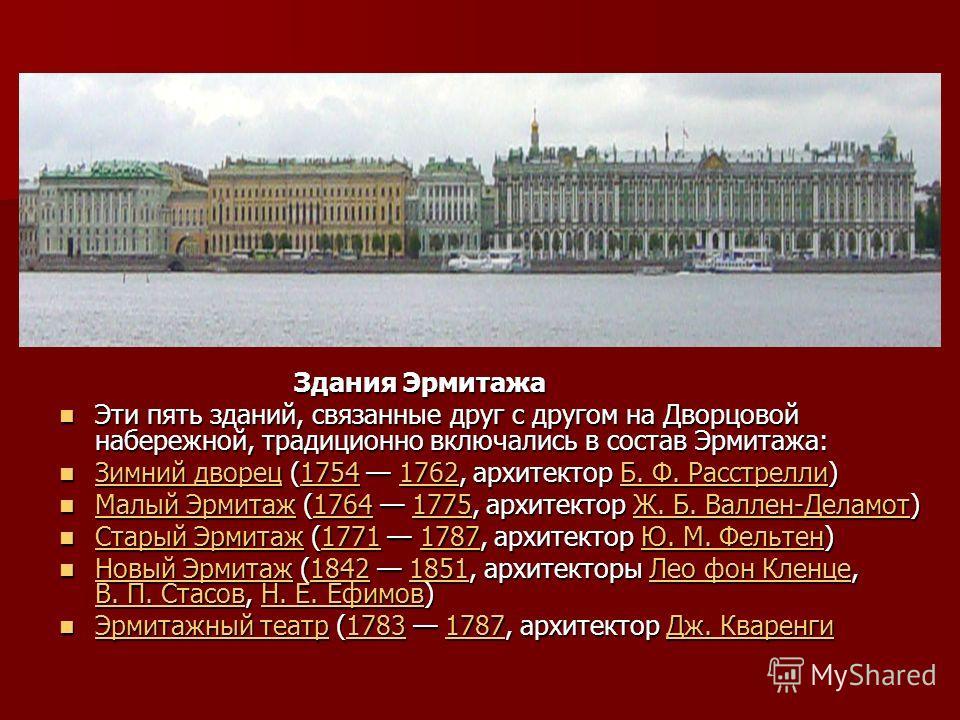 Здания Эрмитажа Здания Эрмитажа Эти пять зданий, связанные друг с другом на Дворцовой набережной, традиционно включались в состав Эрмитажа: Эти пять зданий, связанные друг с другом на Дворцовой набережной, традиционно включались в состав Эрмитажа: Зи