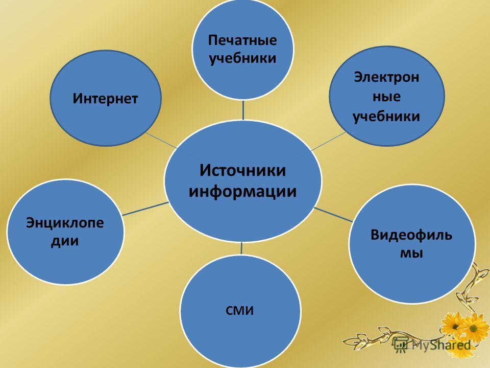 Источники информации Печатные учебники Видеофиль мы СМИ Энциклопе дии Интернет Электрон ные учебники