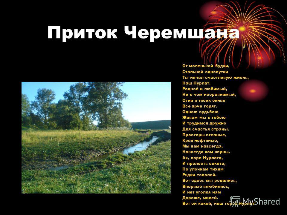 Река Черемшан Сказание о городе Нурлате Текла журча река Кондурча Среди мирных полей лугов и степей. Конь лихой, озорной проносился стрелой, Под копытами пыль, колыхался ковыль. Проходили года, не оставив следа. Шёл век двадцатый. а год девятый. Одна