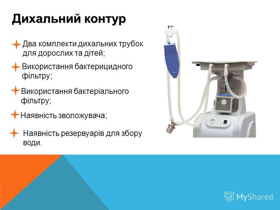Дихальний контур......... Два комплекти дихальних трубок для дорослих та дітей; Використання бактерицидного фільтру; Використання бактеріального фільтру; Наявність зволожувача; Наявність резервуарів для збору води.