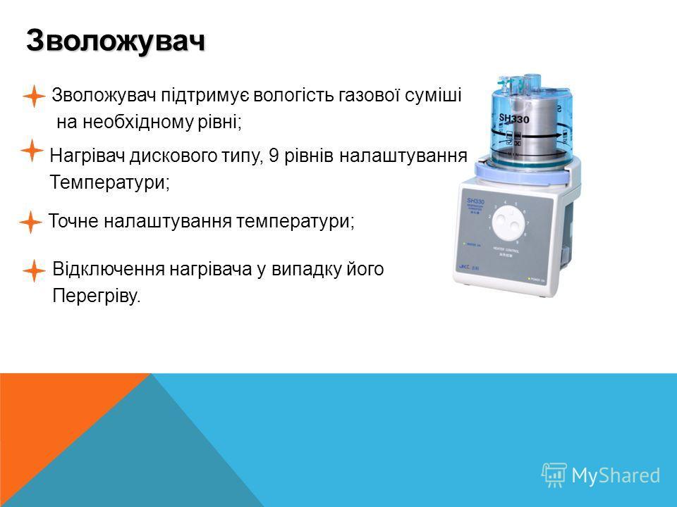 Зволожувач Зволожувач підтримує вологість газової суміші на необхідному рівні; Нагрівач дискового типу, 9 рівнів налаштування Температури; Точне налаштування температури; Відключення нагрівача у випадку його Перегріву.