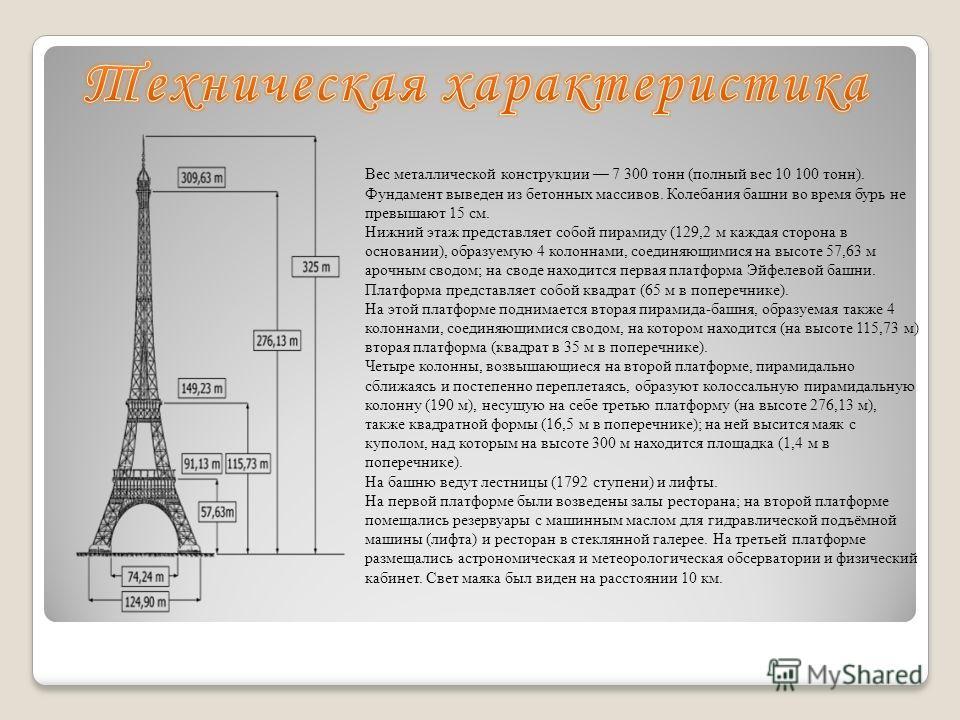 Вес металлической конструкции 7 300 тонн (полный вес 10 100 тонн). Фундамент выведен из бетонных массивов. Колебания башни во время бурь не превышают 15 см. Нижний этаж представляет собой пирамиду (129,2 м каждая сторона в основании), образуемую 4 ко