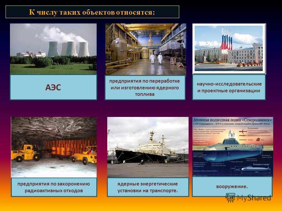 К числу таких объектов относятся: АЭС предприятия по переработке или изготовлению ядерного топлива научно-исследовательские и проектные организации предприятия по захоронению радиоактивных отходов ядерные энергетические установки на транспорте. воору