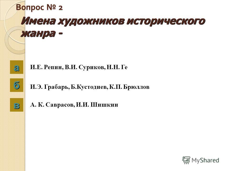 Вопрос 2 Имена художников исторического жанра - аааа бббб вввв И.Е. Репин, В.И. Суриков, Н.Н. Ге И.Э. Грабарь, Б.Кустодиев, К.П. Брюллов А. К. Саврасов, И.И. Шишкин