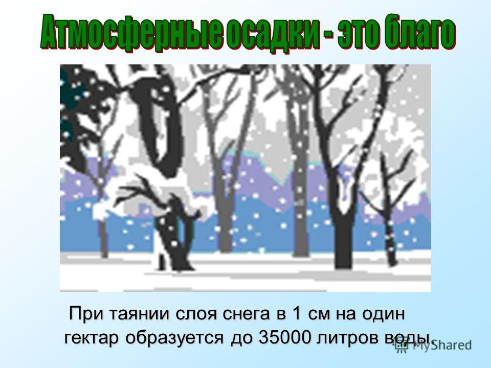 При таянии слоя снега в 1 см на один гектар образуется до 35000 литров воды. При таянии слоя снега в 1 см на один гектар образуется до 35000 литров воды.