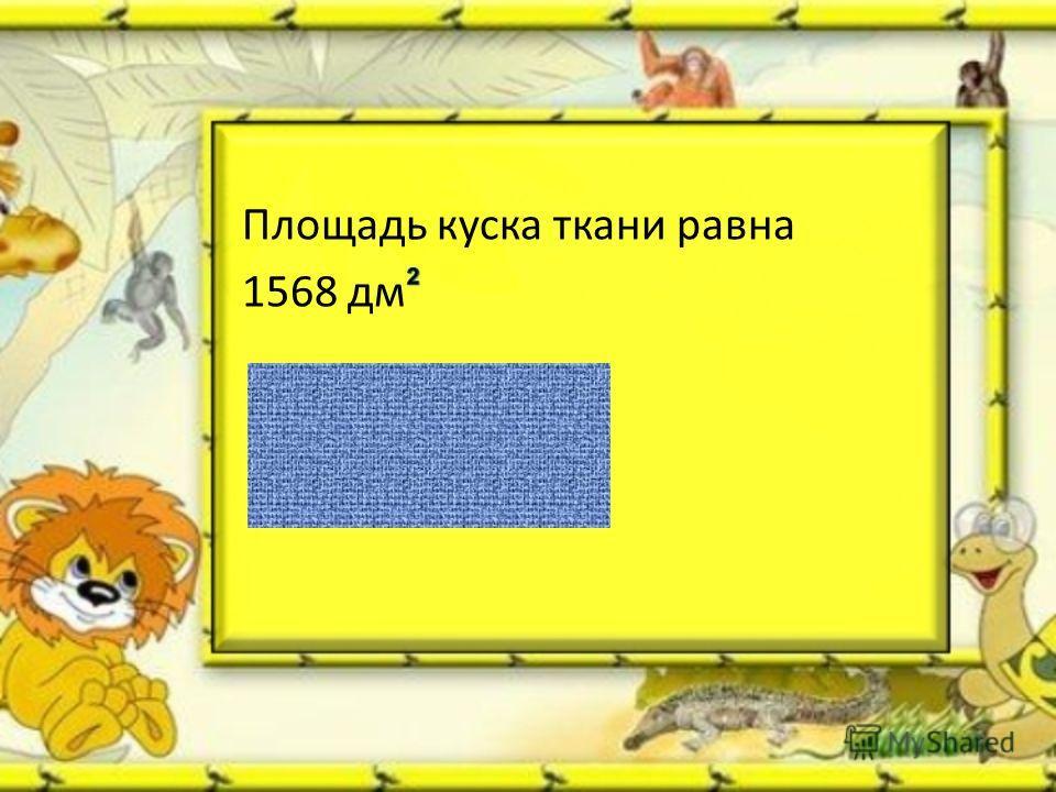 Площадь куска ткани равна 1568 дм