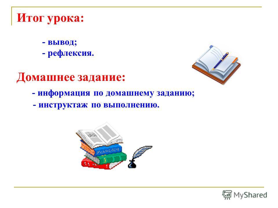 Итог урока: - вывод; - рефлексия. Домашнее задание: - информация по домашнему заданию; - инструктаж по выполнению.