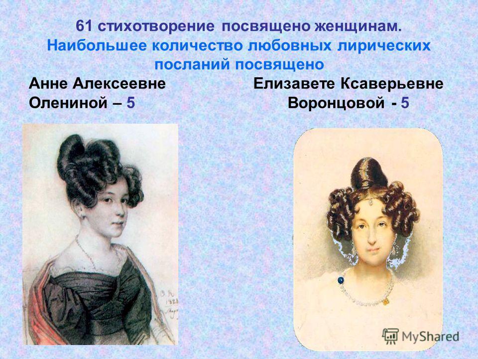61 стихотворение посвящено женщинам. Наибольшее количество любовных лирических посланий посвящено Анне Алексеевне Олениной – 5 Елизавете Ксаверьевне Воронцовой - 5