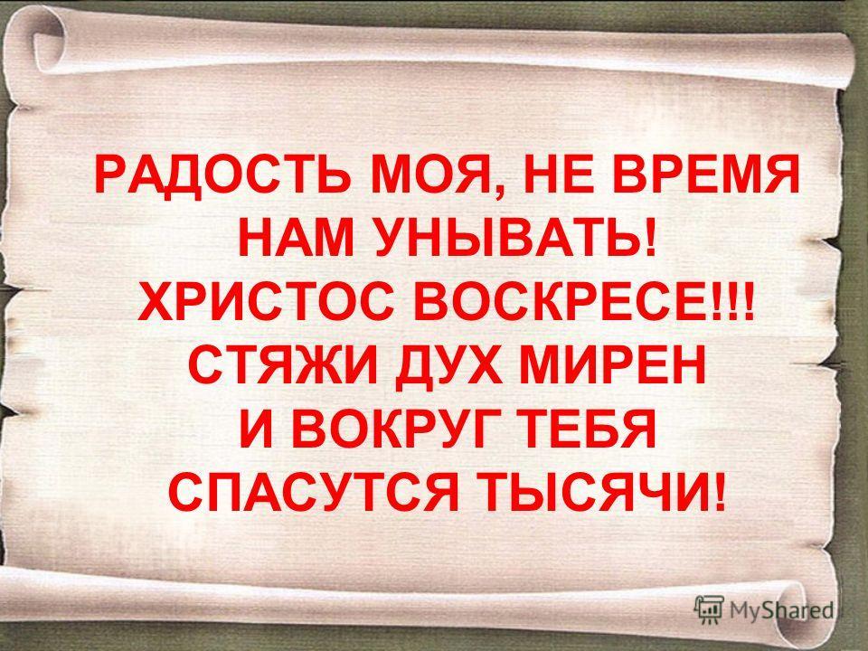 РАДОСТЬ МОЯ, НЕ ВРЕМЯ НАМ УНЫВАТЬ! ХРИСТОС ВОСКРЕСЕ!!! СТЯЖИ ДУХ МИРЕН И ВОКРУГ ТЕБЯ СПАСУТСЯ ТЫСЯЧИ!