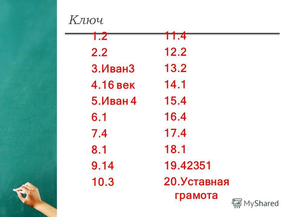 Ключ 1.2 2.2 3.Иван3 4.16 век 5.Иван 4 6.1 7.4 8.1 9.14 10.3 11.4 12.2 13.2 14.1 15.4 16.4 17.4 18.1 19.42351 20.Уставная грамота