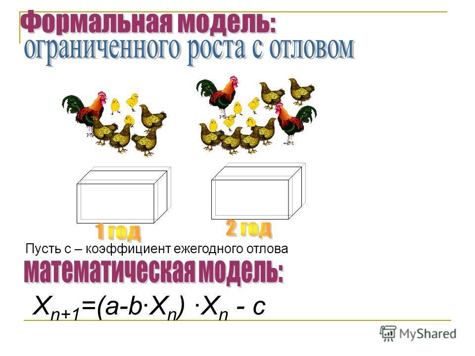 Пусть с – коэффициент ежегодного отлова X n+1 =(a-b·X n ) ·X n - с
