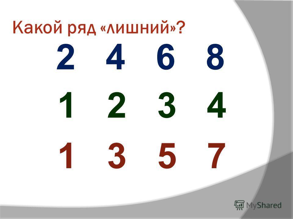 Какой ряд «лишний»? 2 4 6 8 1 2 3 4 1 3 5 7