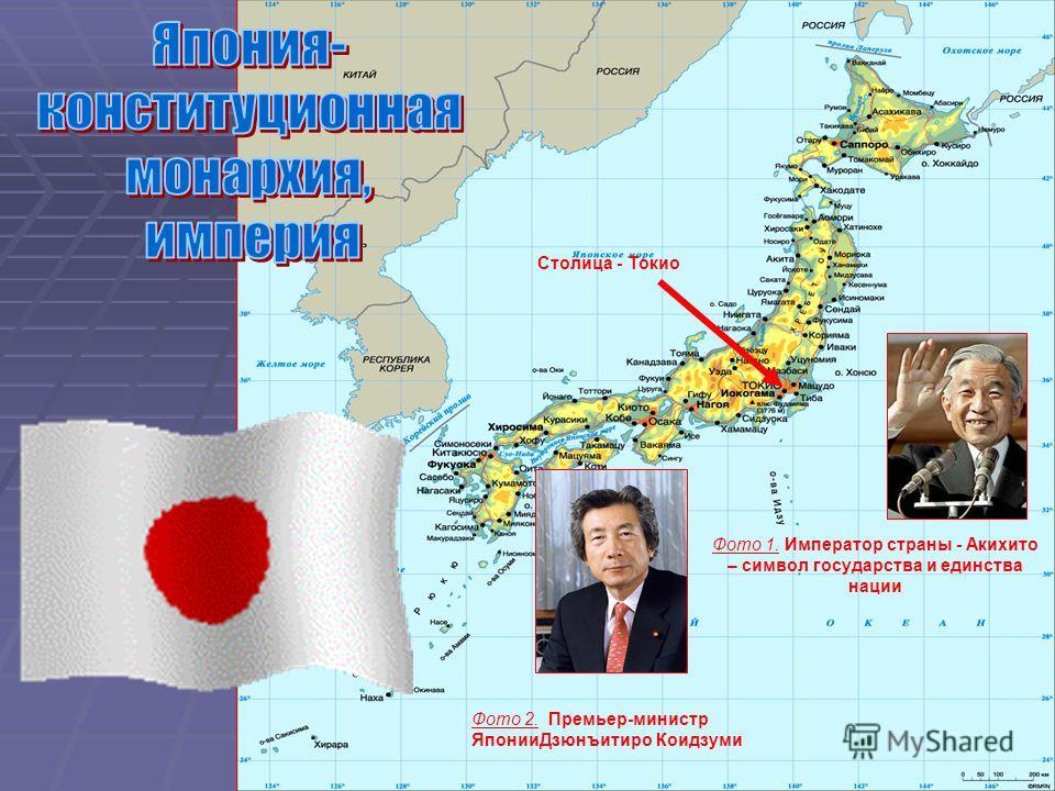 Фото 1. Император страны - Акихито – символ государства и единства нации Фото 2. Премьер-министр ЯпонииДзюнъитиро Коидзуми Столица - Токио