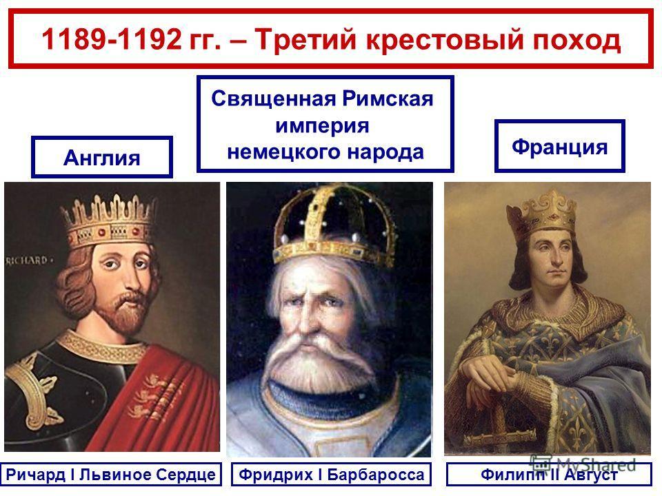 1189-1192 гг. – Третий крестовый поход Ричард I Львиное Сердце Англия Фридрих I БарбароссаФилипп II Август Священная Римская империя немецкого народа Франция
