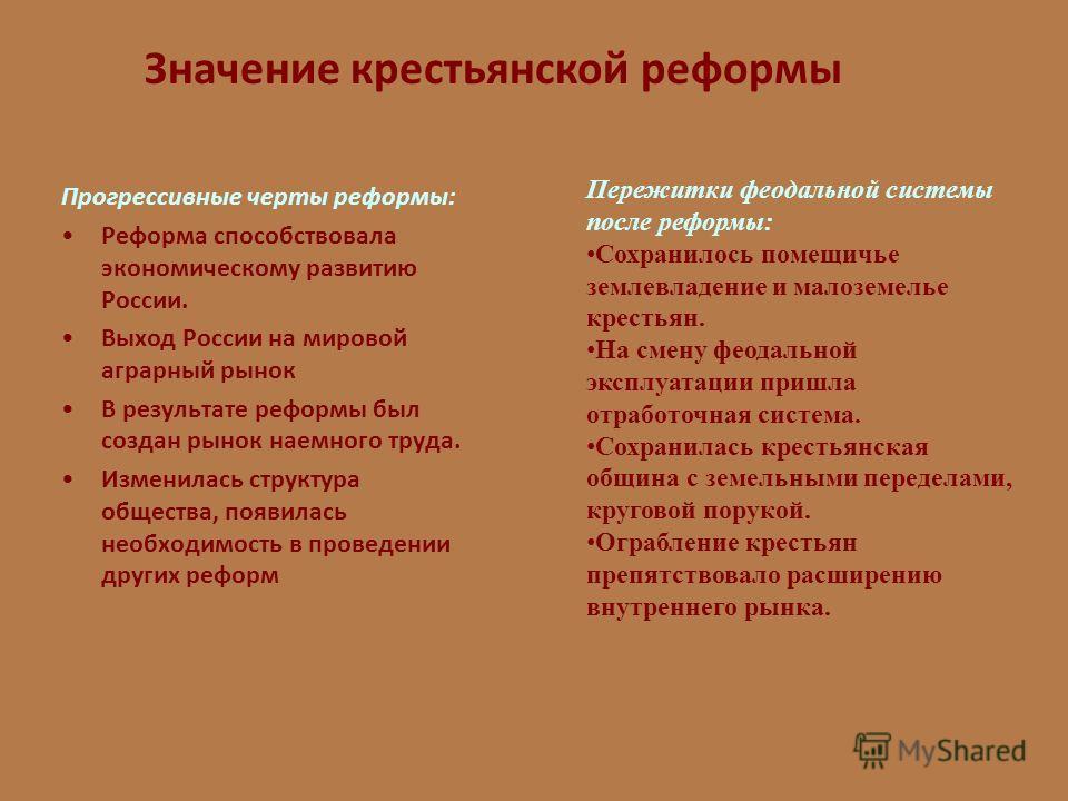 Значение крестьянской реформы Прогрессивные черты реформы: Реформа способствовала экономическому развитию России. Выход России на мировой аграрный рынок В результате реформы был создан рынок наемного труда. Изменилась структура общества, появилась не