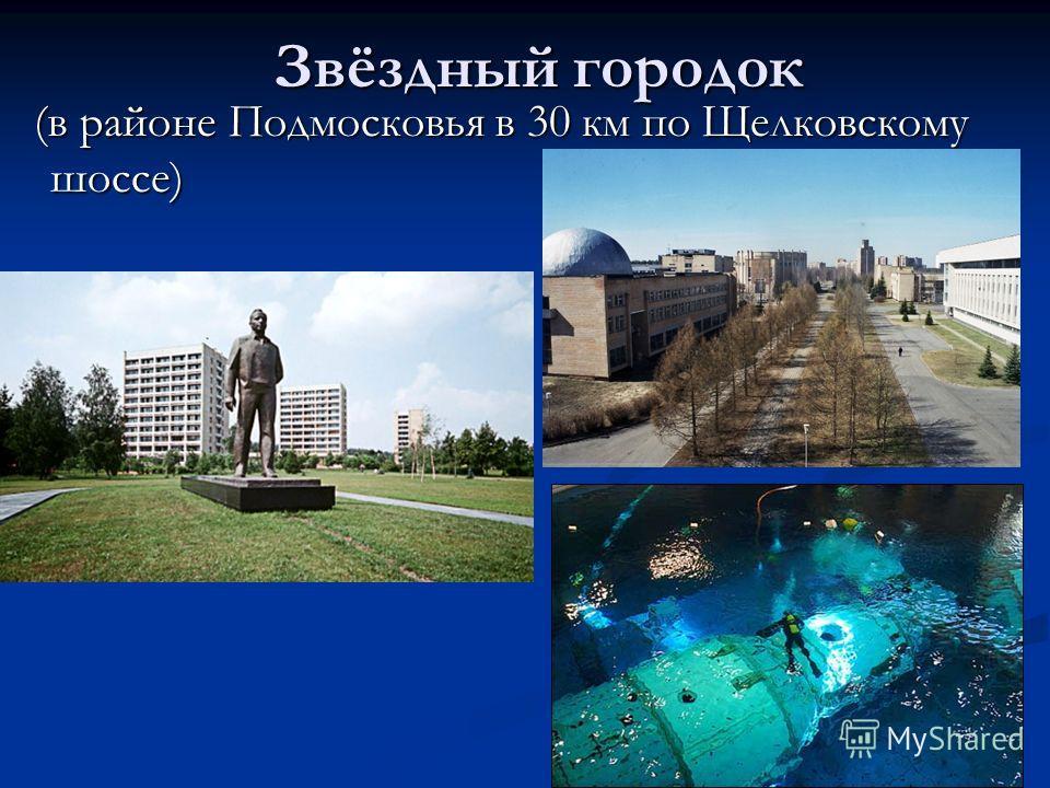 Звёздный городок (в районе Подмосковья в 30 км по Щелковскому шоссе) (в районе Подмосковья в 30 км по Щелковскому шоссе)