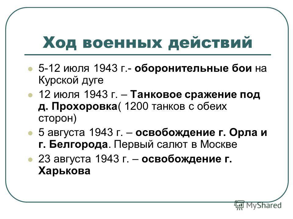 Ход военных действий 5-12 июля 1943 г.- оборонительные бои на Курской дуге 12 июля 1943 г. – Танковое сражение под д. Прохоровка( 1200 танков с обеих сторон) 5 августа 1943 г. – освобождение г. Орла и г. Белгорода. Первый салют в Москве 23 августа 19