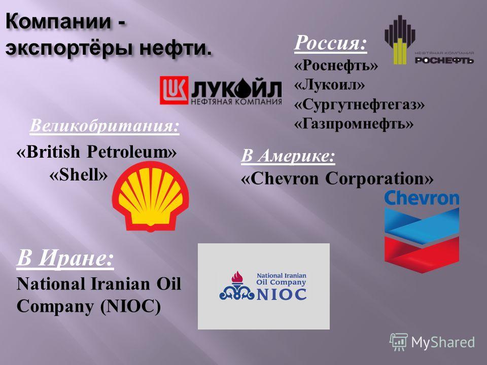 Компании - экспортёры нефти. Великобритания : Россия: «Роснефть» «Лукоил» «Сургутнефтегаз» «Газпромнефть» «British Petroleum» «Shell» В Америке: «Chevron Corporation» В Иране: National Iranian Oil Company (NIOC)