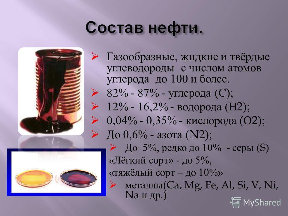 Газообразные, жидкие и твёрдые углеводороды с числом атомов углерода до 100 и более. 82% - 87% - углерода ( С ); 12% - 16,2% - водорода ( Н 2); 0,04% - 0,35% - кислорода ( О 2); До 0,6% - азота (N2); До 5%, редко до 10% - серы (S) « Лёгкий сорт » - д