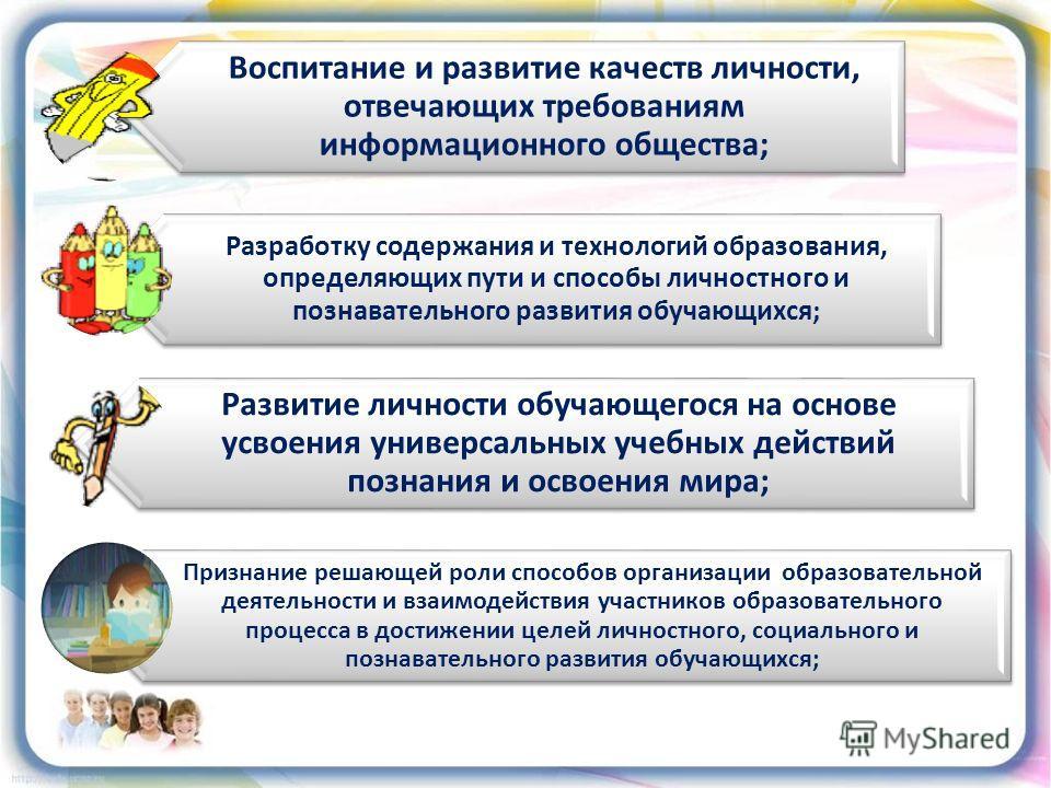 Воспитание и развитие качеств личности, отвечающих требованиям информационного общества; Разработку содержания и технологий образования, определяющих пути и способы личностного и познавательного развития обучающихся; Развитие личности обучающегося на