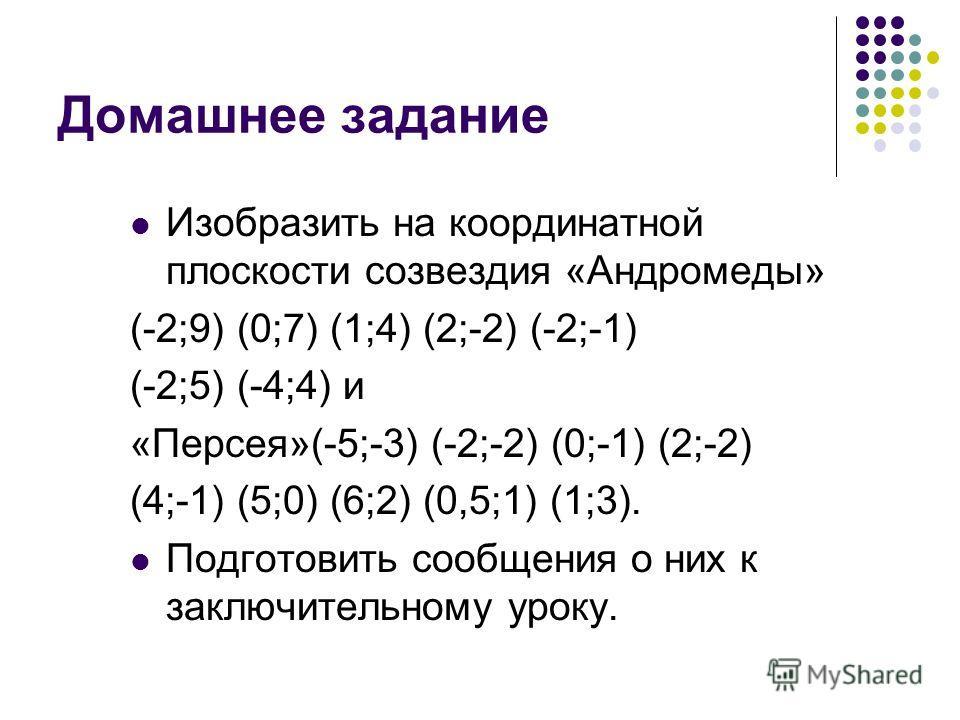 Домашнее задание Изобразить на координатной плоскости созвездия «Андромеды» (-2;9) (0;7) (1;4) (2;-2) (-2;-1) (-2;5) (-4;4) и «Персея»(-5;-3) (-2;-2) (0;-1) (2;-2) (4;-1) (5;0) (6;2) (0,5;1) (1;3). Подготовить сообщения о них к заключительному уроку.