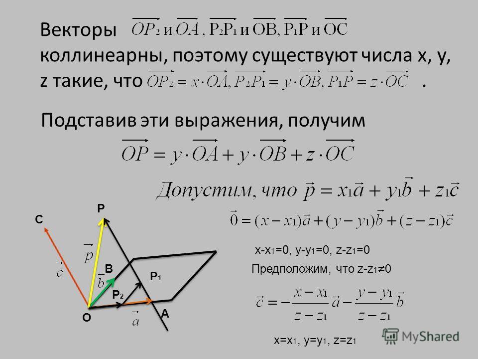Векторы коллинеарны, поэтому существуют числа х, у, z такие, что. С В А О P P1P1 P2P2 х-х 1 =0, у-y 1 =0, z-z 1 =0 Предположим, что z-z 1 0 х=х 1, у=y 1, z=z 1 Подставив эти выражения, получим