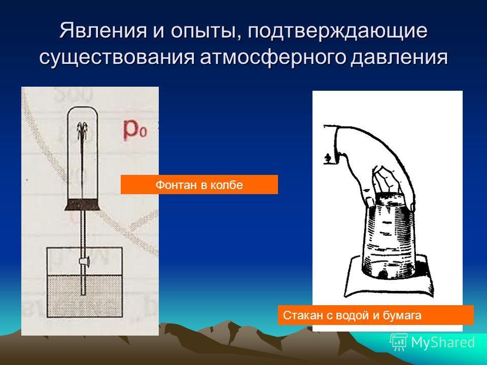 Явления и опыты, подтверждающие существования атмосферного давления Фонтан в колбе Стакан с водой и бумага