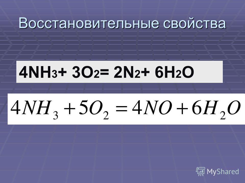 Восстановительные свойства 4NH 3 + 3O 2 = 2N 2 + 6H 2 O