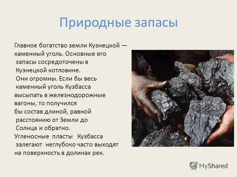 Природные запасы Главное богатство земли Кузнецкой каменный уголь. Основные его запасы сосредоточены в Кузнецкой котловине. Они огромны. Если бы весь каменный уголь Кузбасса высыпать в железнодорожные вагоны, то получился бы состав длиной, равной рас
