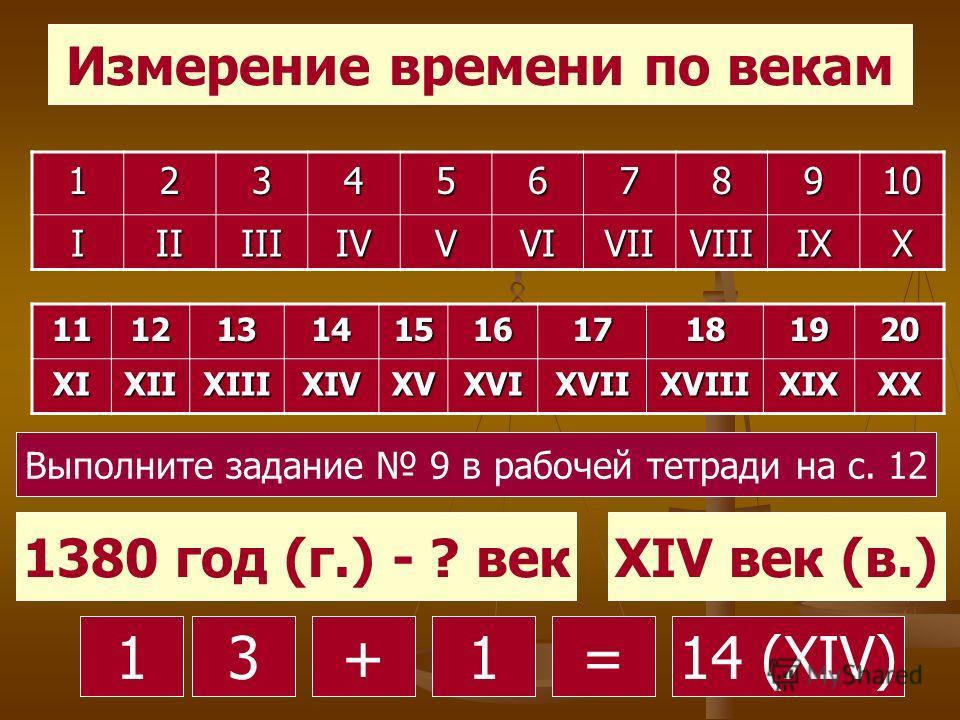 Измерение времени по векам 12345678910 IIIIIIIVVVIVIIVIIIIXX 11121314151617181920XIXIIXIIIXIVXVXVIXVIIXVIIIXIXXX 1380 год (г.) - ? векXIV век (в.) 13 80 +14 (XIV)1= Выполните задание 9 в рабочей тетради на с. 12
