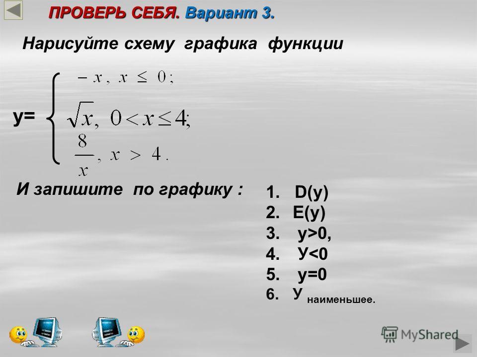 y= Нарисуйте схему графика функции И запишите по графику : 1. D(у) 2.Е(у) 3. у>0, 4. У