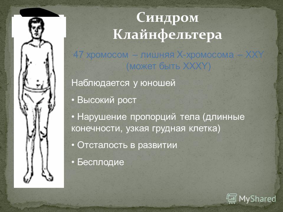 Синдром Клайнфельтера 47 хромосом – лишняя Х-хромосома – ХХY (может быть ХХХY) Наблюдается у юношей Высокий рост Нарушение пропорций тела (длинные конечности, узкая грудная клетка) Отсталость в развитии Бесплодие
