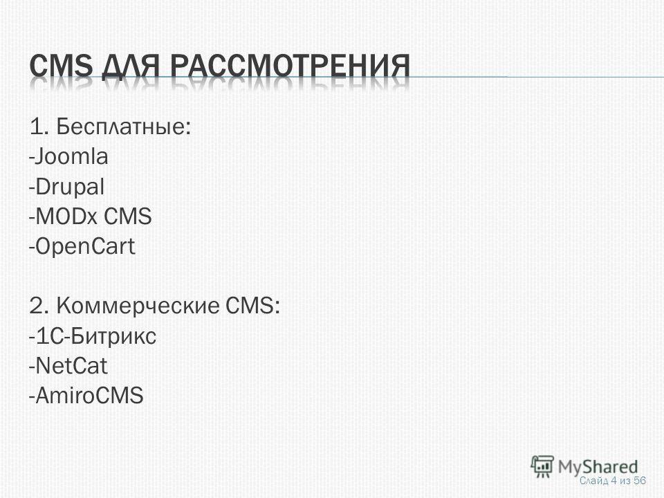 1. Бесплатные: -Joomla -Drupal -MODx CMS -OpenCart 2. Коммерческие CMS: -1C-Битрикс -NetCat -AmiroCMS Слайд 4 из 56