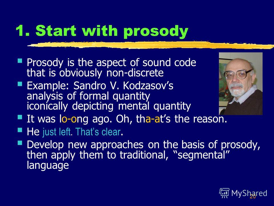 20 1. Start with prosody Prosody is the aspect of sound code that is obviously non-discrete Example: Sandro V. Kodzasovs analysis of formal quantity iconically depicting mental quantity It was lo-ong ago. Oh, tha-ats the reason. He just left. Thats c