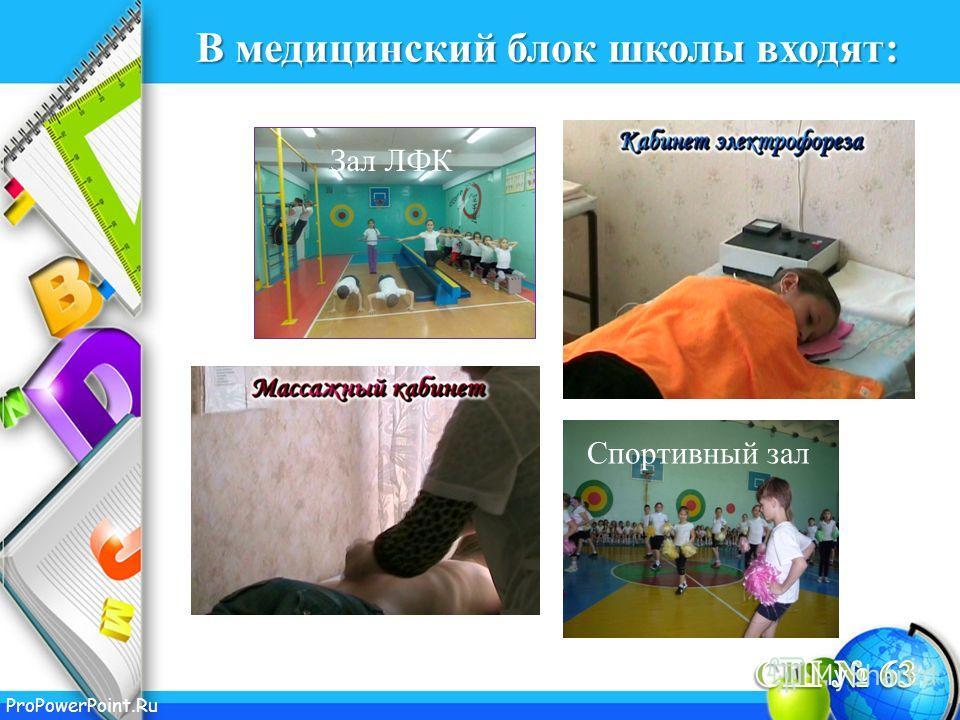 ProPowerPoint.Ru В медицинский блок школы входят: Зал ЛФК Спортивный зал