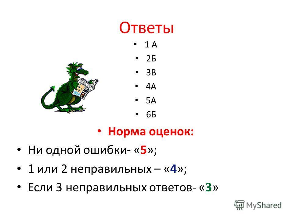 Ответы 1 А 2Б 3В 4А 5А 6Б Норма оценок: Ни одной ошибки- «5»; 1 или 2 неправильных – «4»; Если 3 неправильных ответов- «3»