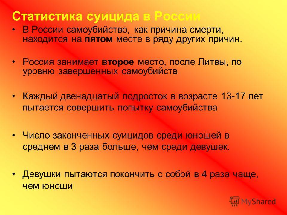 Статистика суицида в России В России самоубийство, как причина смерти, находится на пятом месте в ряду других причин. Россия занимает второе место, после Литвы, по уровню завершенных самоубийств Каждый двенадцатый подросток в возрасте 13-17 лет пытае