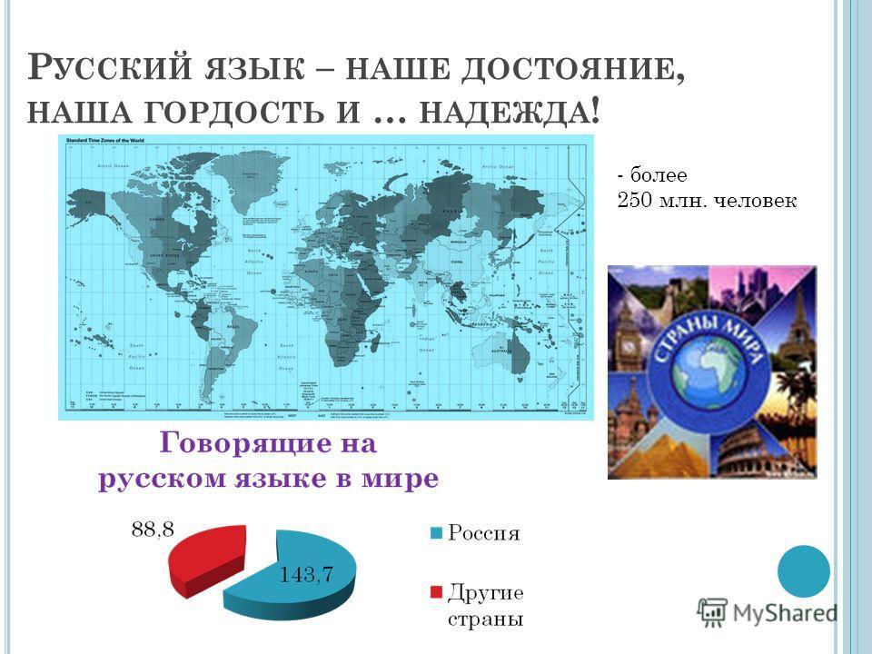 Р УССКИЙ ЯЗЫК – НАШЕ ДОСТОЯНИЕ, НАША ГОРДОСТЬ И … НАДЕЖДА ! - более 250 млн. человек