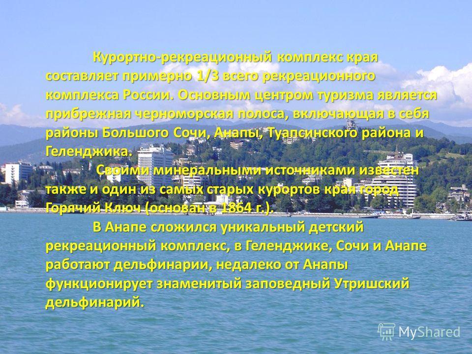 Курортно-рекреационный комплекс края составляет примерно 1/3 всего рекреационного комплекса России. Основным центром туризма является прибрежная черноморская полоса, включающая в себя районы Большого Сочи, Анапы, Туапсинского района и Геленджика. Сво