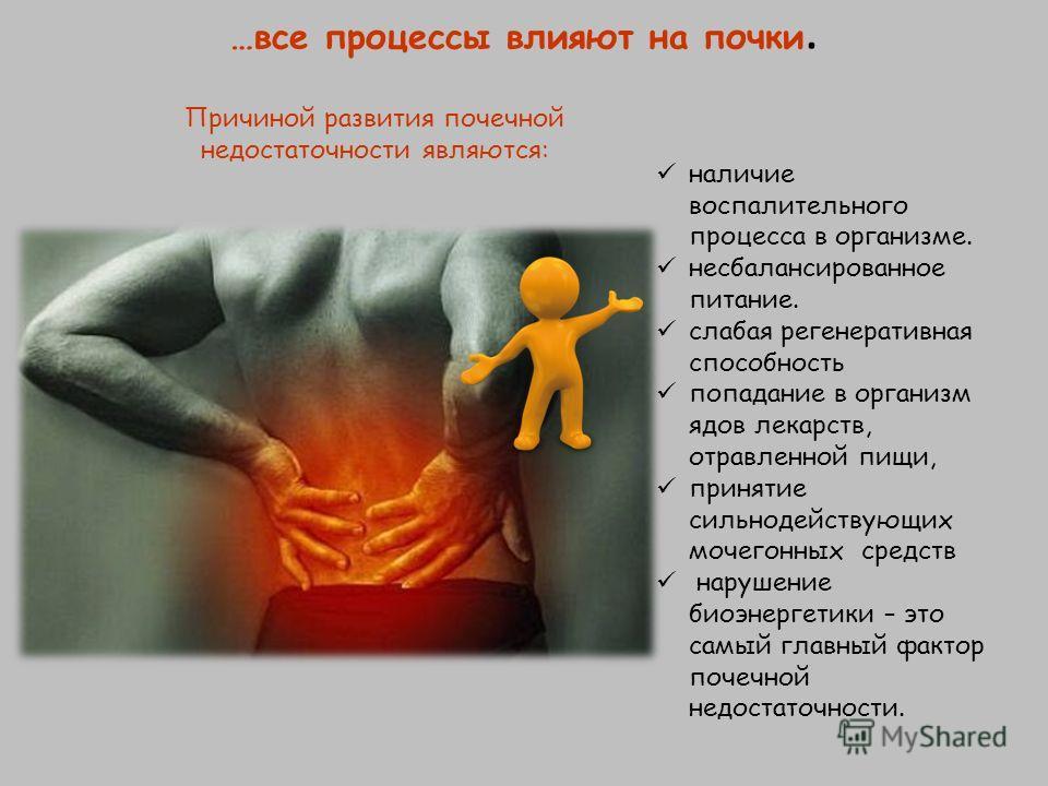 …все процессы влияют на почки. наличие воспалительного процесса в организме. несбалансированное питание. слабая регенеративная способность попадание в организм ядов лекарств, отравленной пищи, принятие сильнодействующих мочегонных средств нарушение б