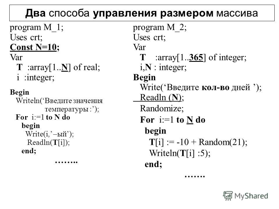 Два способа управления размером массива program M_1; Uses crt; Const N=10; Var T :array[1..N] of real; i :integer; Begin Writeln(Введите значения температуры :); For i:=1 to N do begin Write(i, –ый); Readln(T[i]); end; …….. program M_2; Uses crt; Var