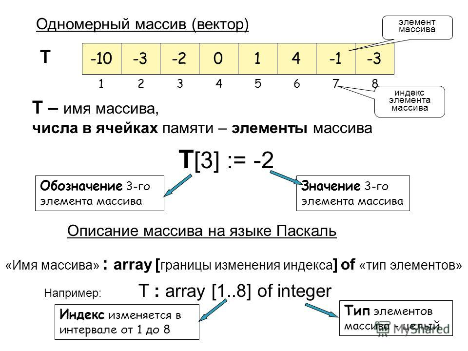 Одномерный массив (вектор) T – имя массива, числа в ячейках памяти – элементы массива T [3] := -2 Значение 3-го элемента массива Обозначение 3-го элемента массива Описание массива на языке Паскаль «Имя массива» : array [ границы изменения индекса ] o