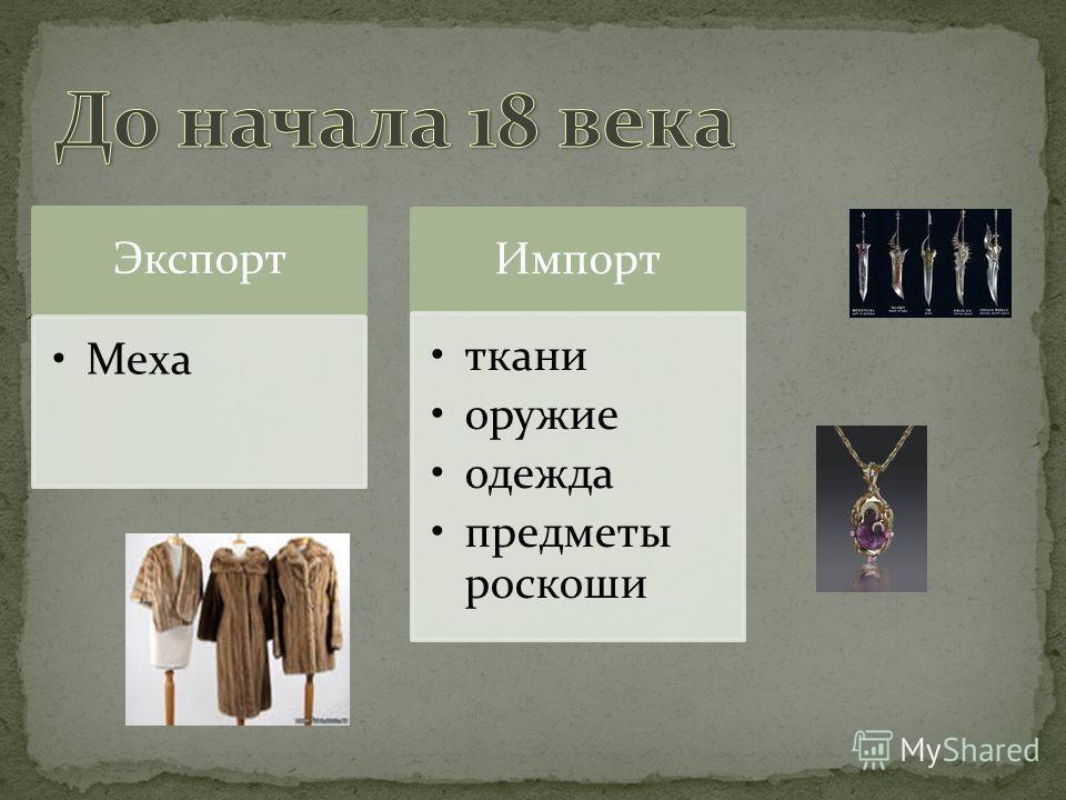 Экспорт Меха Импорт ткани оружие одежда предметы роскоши