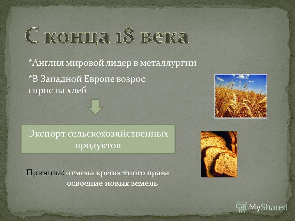 *В Западной Европе возрос спрос на хлеб *Англия мировой лидер в металлургии Экспорт сельскохозяйственных продуктов Причина: отмена крепостного права освоение новых земель
