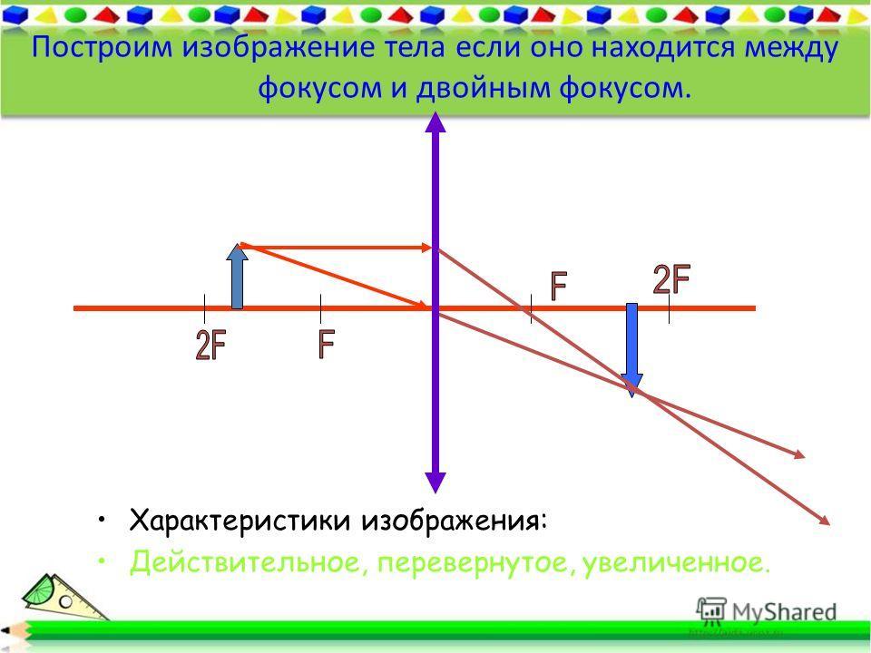 Построим изображение тела если оно находится между фокусом и двойным фокусом. Характеристики изображения: Действительное, перевернутое, увеличенное.