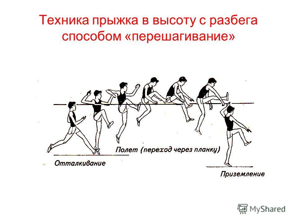 Техника прыжка в высоту с разбега способом «перешагивание»
