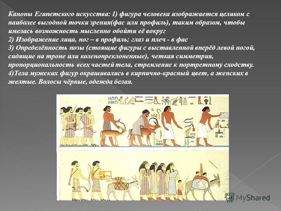 Каноны Египетского искусства: 1) фигура человека изображается целиком с наиболее выгодной точки зрения(фас или профиль), таким образом, чтобы имелась возможность мысленно обойти её вокруг 2) Изображение лица, ног – в профиль; глаз и плеч - в фас 3) О