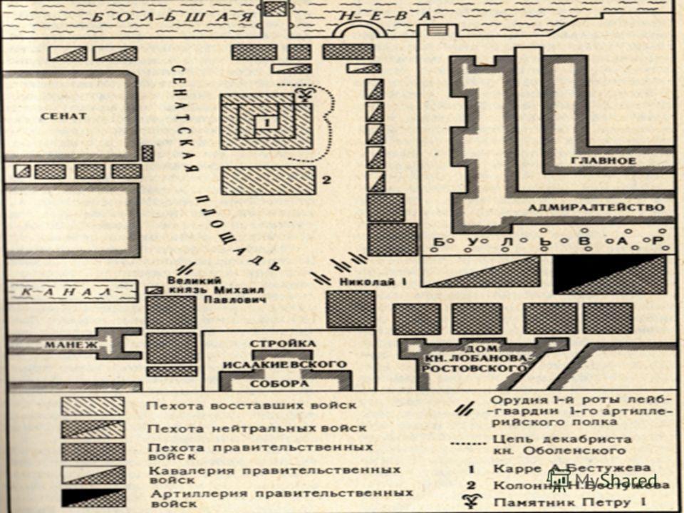 15 Выступление декабристов в Петербурге 14 декабря 1825 г. Восставшие полки построились вокруг памятника Петру Великому по принципу «каре»