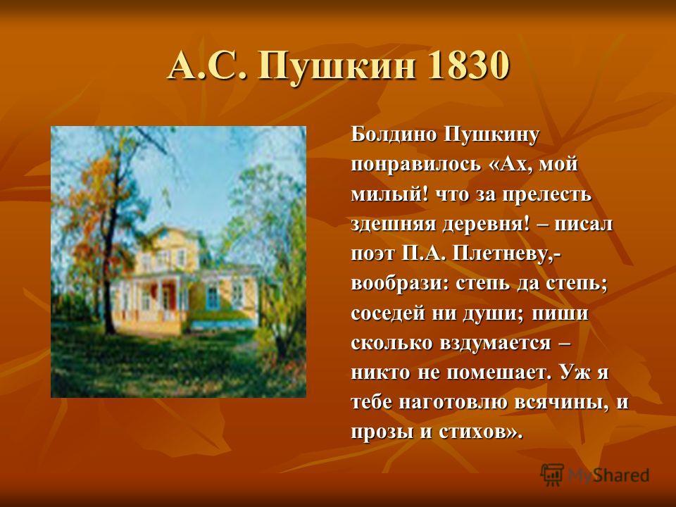 А.С. Пушкин 1830 Болдино Пушкину понравилось «Ах, мой милый! что за прелесть здешняя деревня! – писал поэт П.А. Плетневу,- вообрази: степь да степь; соседей ни души; пиши сколько вздумается – никто не помешает. Уж я тебе наготовлю всячины, и прозы и